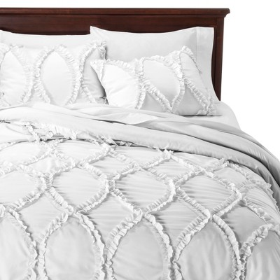 Avon Ogee Texture Comforter Set (King)White 3pc - Lush Décor®
