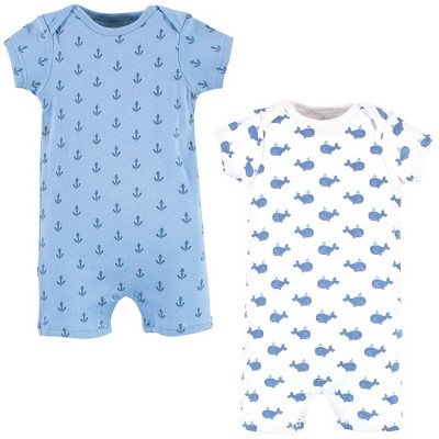 Hudson Baby Infant Boy Cotton Rompers, Blue Whale