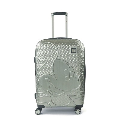 "FUL Disney Mickey Mouse Textured 25"" Hardside Rolling Suitcase - Silver"