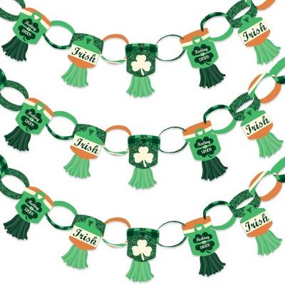 Big Dot of Happiness St. Patrick's Day - 90 Chain Links and 30 Paper Tassels Decoration Kit - Saint Patty's Day Party Paper Chains Garland - 21 feet
