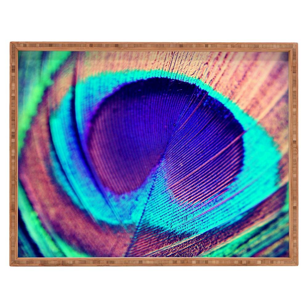 Shannon Clark Pretty Peacock Rectangle Tray - Purple - Deny Designs, Multi-Colored