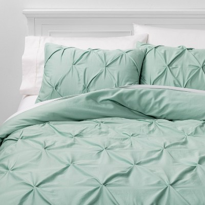 Full/Queen Pinch Pleat Duvet Cover Set Mint - Threshold™