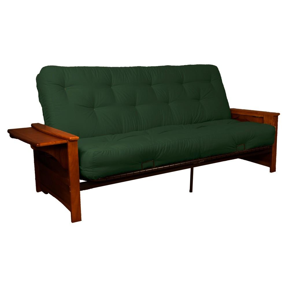 Brooklyn 8 Cotton/Foam Futon Sofa Sleeper - Walnut Wood Finish - Epic Furnishings, Green