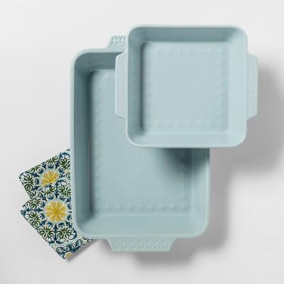 2pk Ceramic Baking Pan Aqua - Opalhouse™
