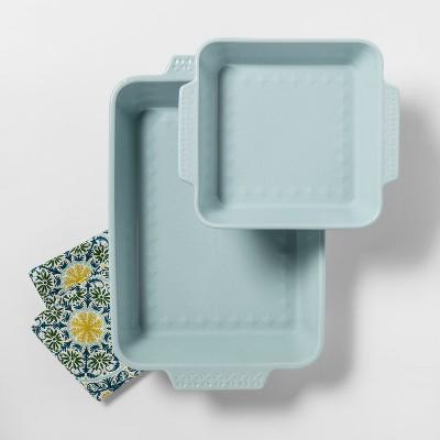 2pk Ceramic Baking Pan Aqua - Opalhouse™