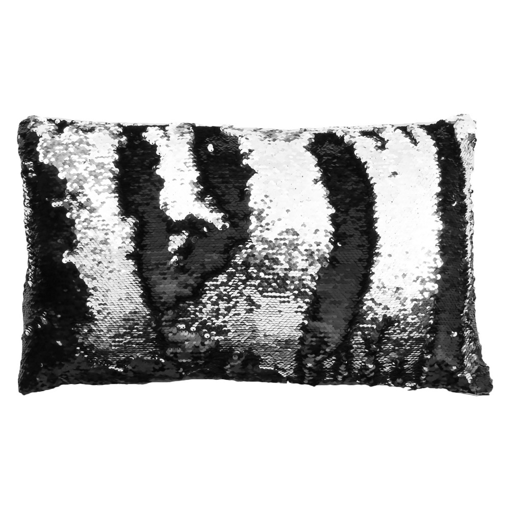 Melody Mermaid Reversible Sequin Lumbar Throw Pillow Black - Decor Therapy, Black/Silver