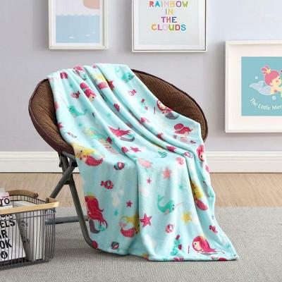 Kate Aurora Ultra Soft & Plush Mermaids & Fish Princess Hypoallergenic Fleece Throw Blanket -