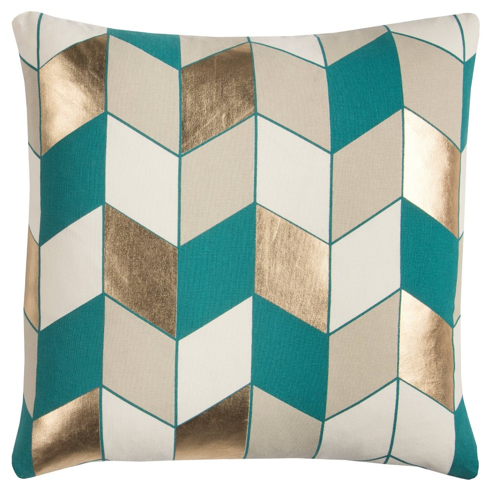 """Image of """"20""""""""x20"""""""" Geometric Throw Pillow Teal - Rizzy Home"""""""