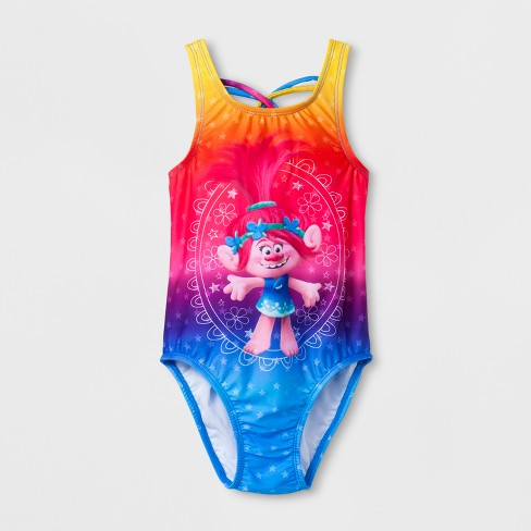 Toddler Girls' Trolls One Piece Swimsuit - Pink 4T - image 1 of 2