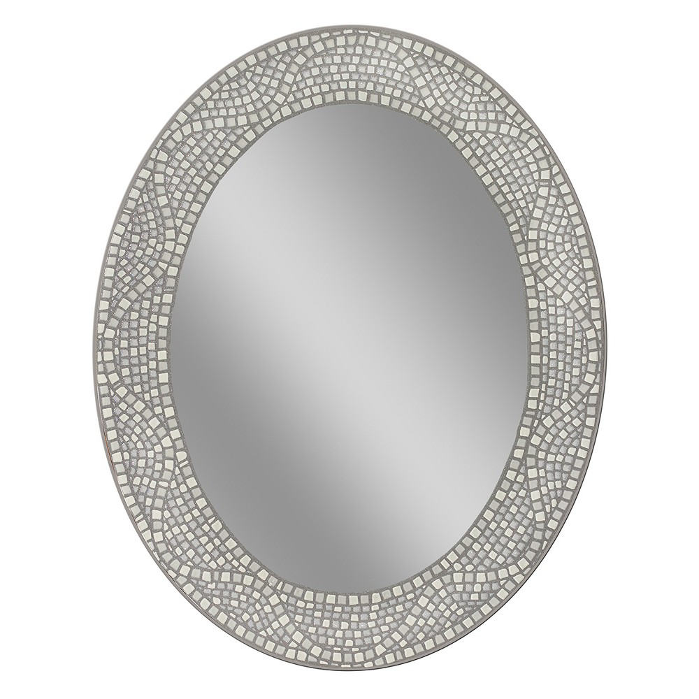 "Image of ""Head West 23"""" x 29"""" Opal Mosaic Oval Mirror"""