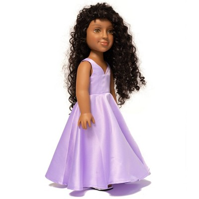 """I'M A GIRLY Jasmine 18"""" Fashion Doll with Brunette Curly Interchangeable Wig to Style"""