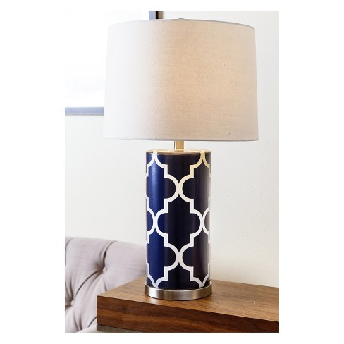 Set Of 2 Lisette Lattice Table Lamps Navy Lamp Only Abbyson
