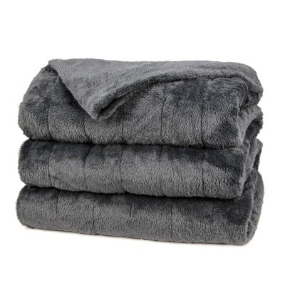 Queen Microplush Electric Bed Blanket Slate - Sunbeam