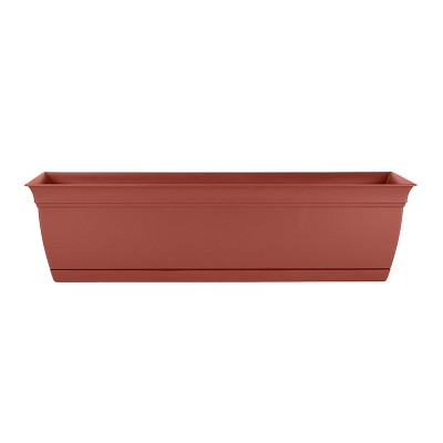 The HC Companies ECW30000E35 Indoor Outdoor 30 Inch Eclipse Series Window Garden Ornamental Planter Box with Removable Attached Saucer, Terra Cotta