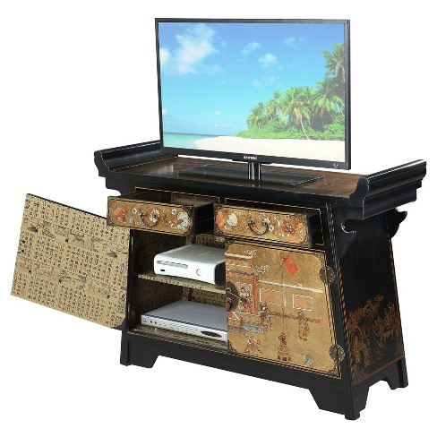 Touch Of Asia Cabinet Console Tv Stand Black Gold Convenience