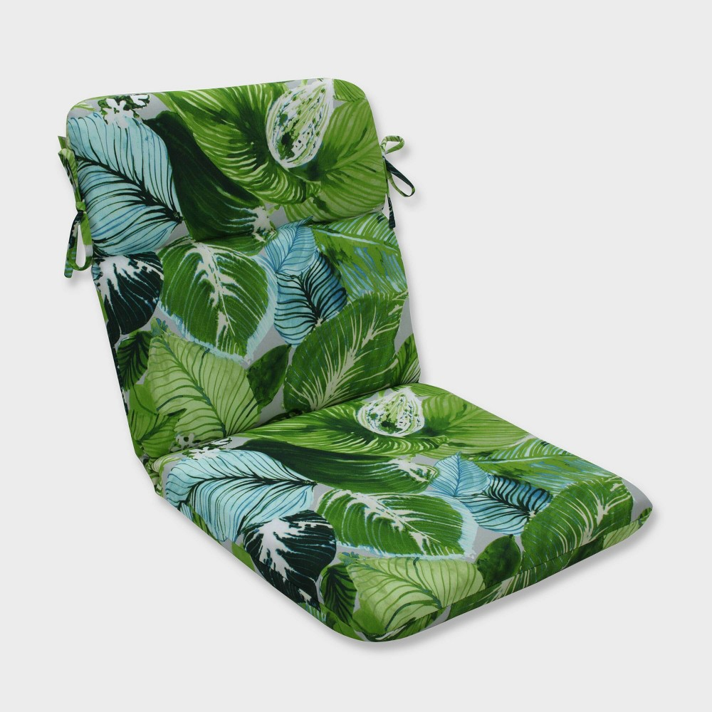 Lush Leaf Jungle Rounded Corners Outdoor Chair Cushion Green - Pillow Perfect
