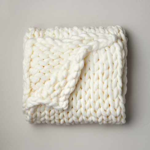 """50"""" x 70"""" Oversized Chunky Hand Knit Decorative Bed Throw - Casaluna™ - image 1 of 4"""