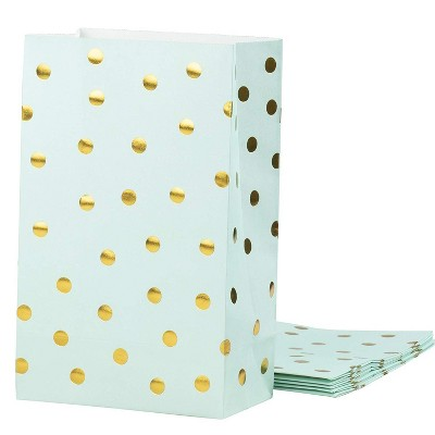 Blue Panda 24-Pack Mint Green Gold Foil Dots Medium Paper Party Favor Bags Wedding Gift Bags, 5.5 x 8.6 x 3 in