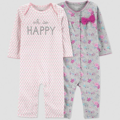 Baby Girls' 2pk Happy Jumpsuit - Just One You® made by carter's Coral 9M