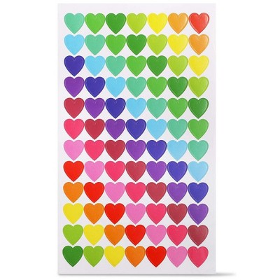 Paper Junkie 3024-Pack Valentine's Day Colorful Heart Stickers for Kids (0.59 in, 36 Sheets)