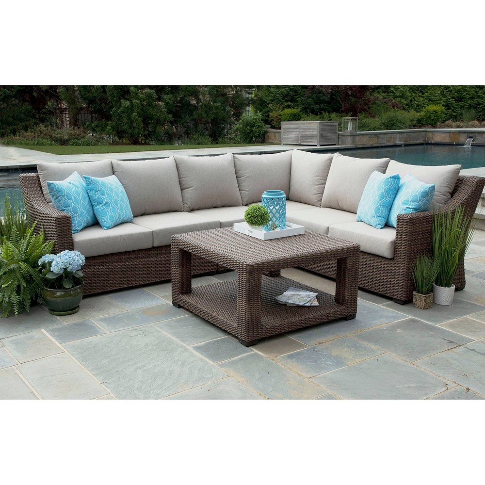 Image of Alder 5pc Sunbrella Sectional Set Beige - Canopy Home and Garden