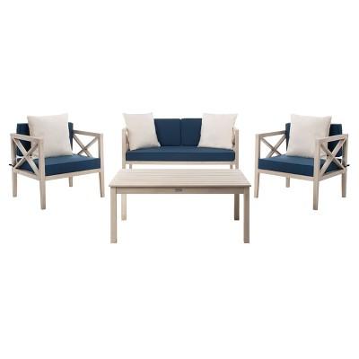 Nunzio 4pc Outdoor Set With Accent Pillows - White/Navy - Safavieh