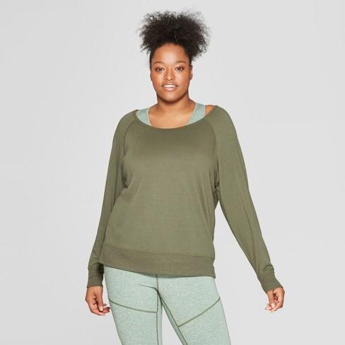 2841330dc Women s Plus Size Cozy Crew Neck Sweatshirt - JoyLab™ Deep Olive ...