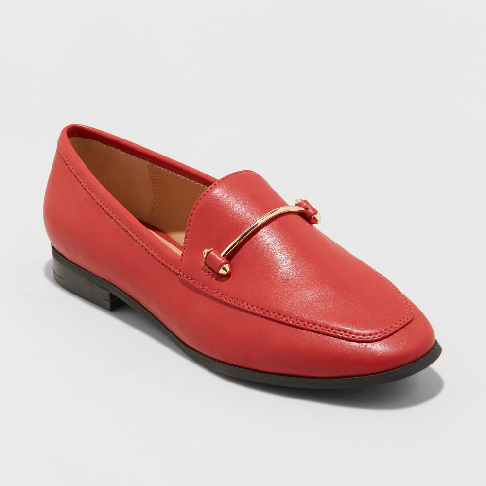 Women's Perry Wide Width Loafers - A New Day Red 7.5W, Size: 7.5 Wide
