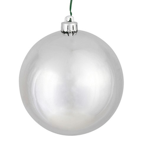 "Vickerman 6"" Silver Shiny Ball Christmas Ornament, 4 per Box - image 1 of 1"