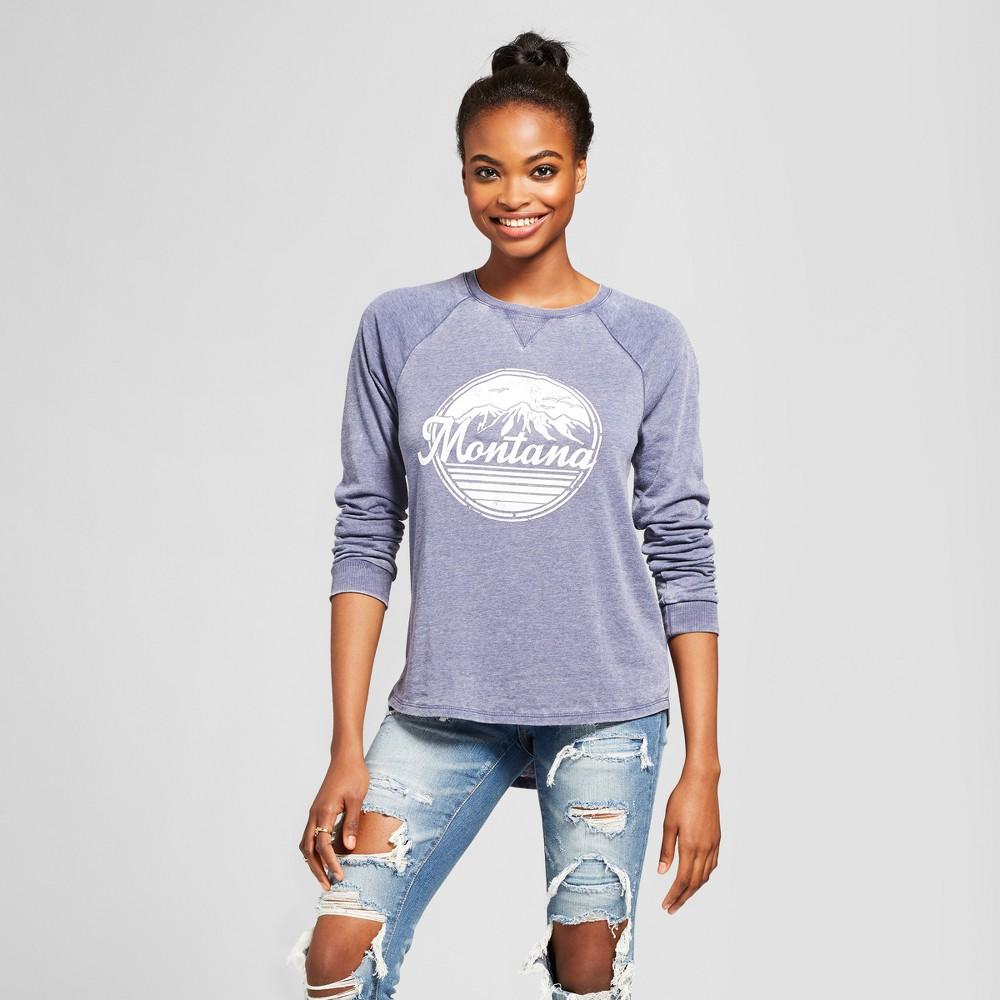 Women's Montana Graphic Sweatshirt - Grayson Threads (Juniors') - Navy S, Blue