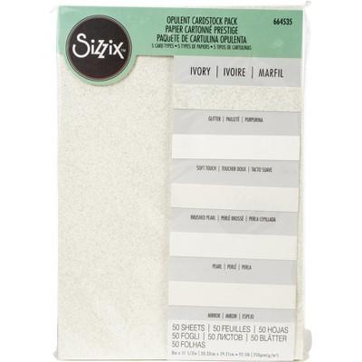 "Sizzix Surfacez Opulent Cardstock Pack 8""X11.5"" 50/Pkg-Ivory"