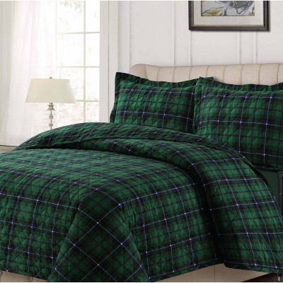 Plaid Oversized Quilt Set - Tribeca Living