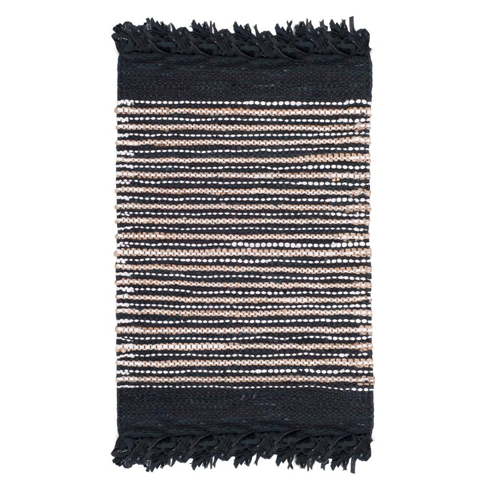 Black Stripe Woven Accent Rug 2'3X4' - Safavieh, Blacknmulti-Colored