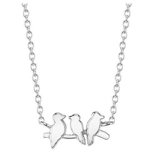 "Women's Sterling Silver Birds Station Necklace - Silver (18"") - image 1 of 2"