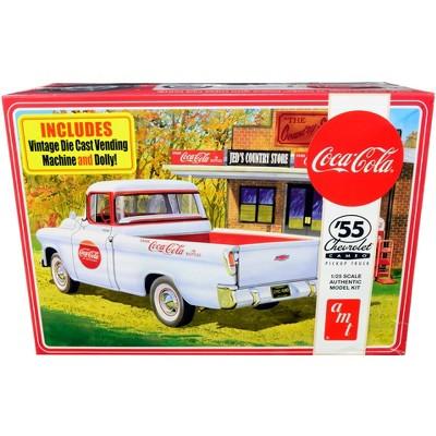 "Skill 3 Model Kit 1955 Chevrolet Cameo Pickup Truck ""Coca-Cola"" w/Vintage Vending Machine & Dolly 1/25 Scale Model AMT"