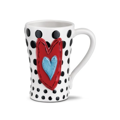 DEMDACO Black Dots Mug 15 Ounce - White