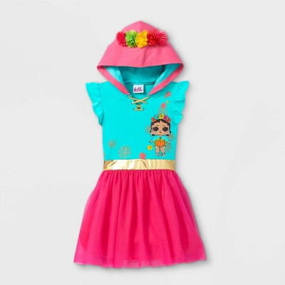 Girls' L.O.L. Surprise! Flower Crown A-Line Dress - Green/Pink