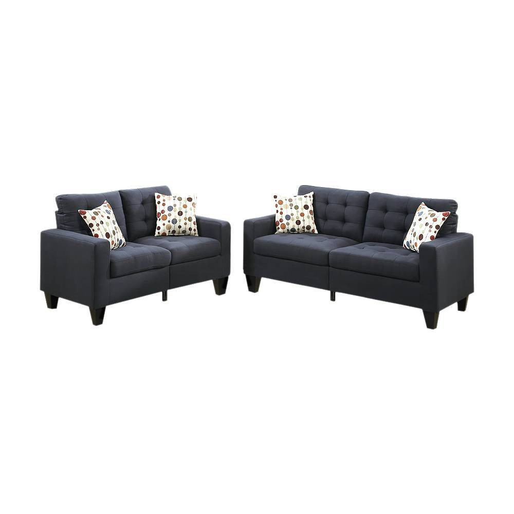 Image of 2pc Linen Fabric Sofa Set Dark Gray - Benzara