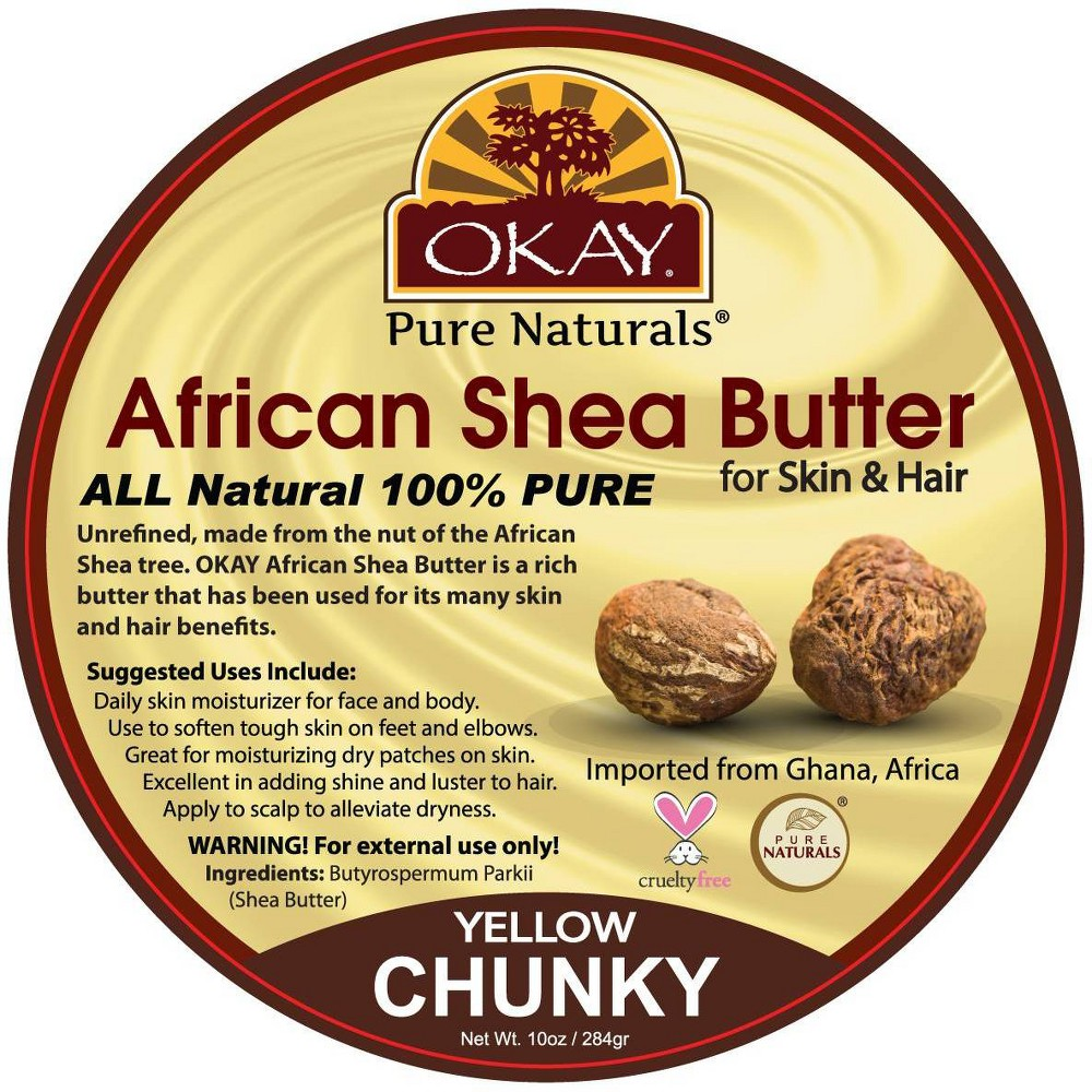 Image of Okay Pure Naturals African Shea Butter for Skin & Hair - Yellow Chunky - 10oz