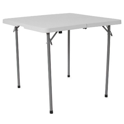Flash Furniture 2.79-Foot Square Bi-Fold Granite White Plastic Folding Table with Carrying Handle