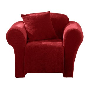 Garnet Stretch Pique Chair Slip - Sure Fit, Red