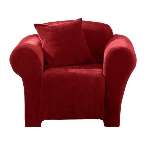 Garnet Stretch Pique Chair Slip - Sure Fit, Red