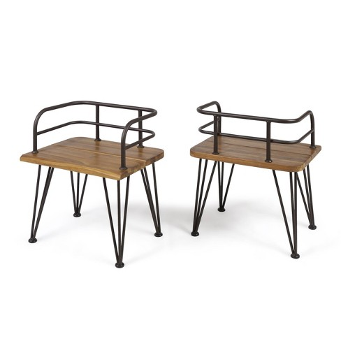 Zion 2pk Acacia Wood & Iron Industrial Chair - Teak- Christopher Knight Home - image 1 of 4