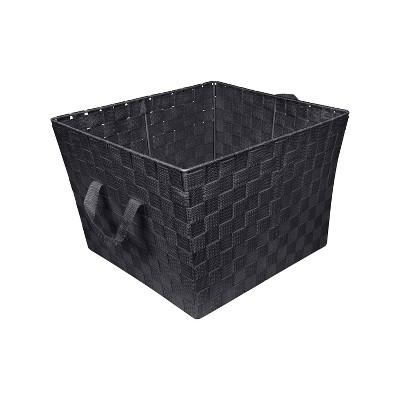 """Simplify Large 15"""" Woven Strap Storage Bin Black"""