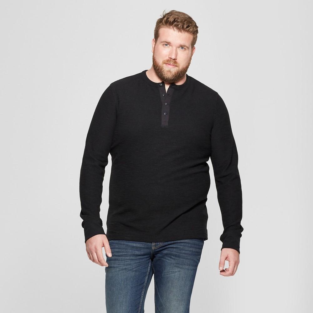 Men's Big & Tall Regular Fit Long Sleeve Textured Henley Shirt - Goodfellow & Co Black 5XB