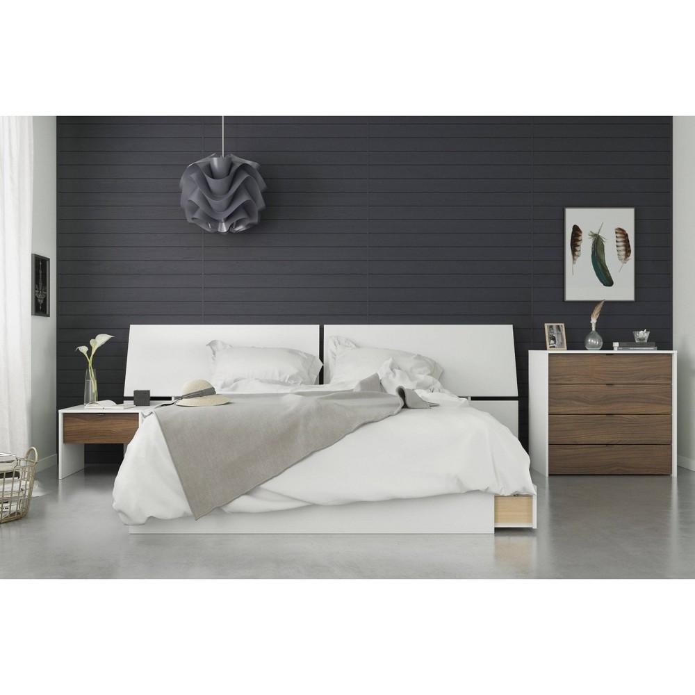 4pc Modus Queen Bedroom Set Walnut/White (Brown/White) - Nexera