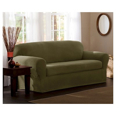 Deep Sage Stretch Reeves Sofa Slipcover (2 Piece)   Maytex : Target