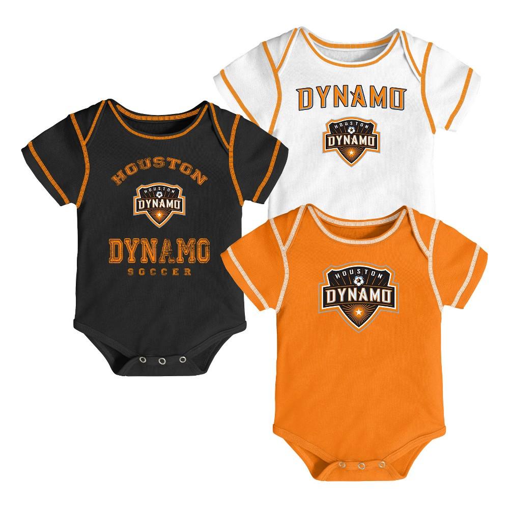 Youngest Fan 3pk Body Suit Set Houston Dynamo 18 M, Boy's, Size: 18M, Multicolored