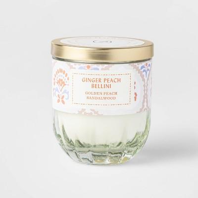 7oz Lidded White Ribbed Base Glass Jar Ginger Peach Bellini Candle - Opalhouse™
