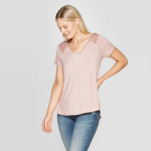 6d8681990a3c36 Women's Short Sleeve V-Neck Lace-Up Back Blouse - Knox Rose™ Pink ...